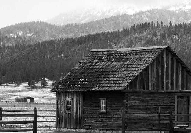 Tiro de escala de grises de una cabaña de madera en una granja con las colinas cubiertas de árboles