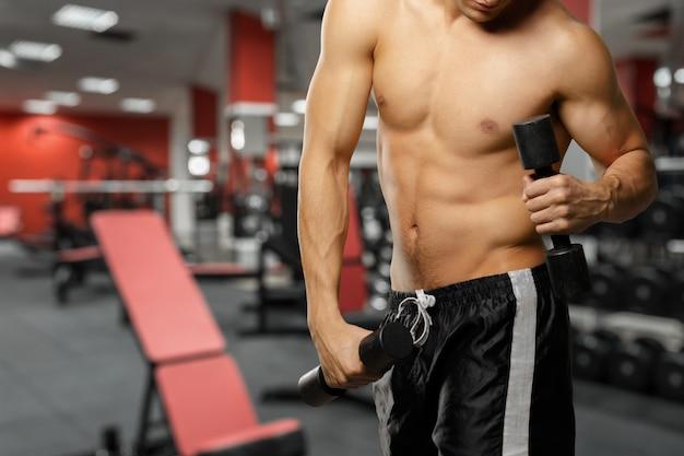 Tiro del torso de un hombre joven que levanta pesas de gimnasia. hombre joven apto que ejercita con pesas de gimnasia en gimnasio
