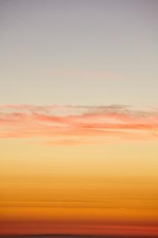 Tiro vertical del cielo dorado del atardecer sobre el océano pacífico