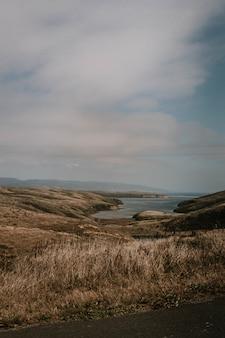 Tiro vertical de colinas y hierba por el cuerpo de agua bajo un cielo nublado