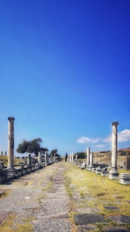 Tiro vertical de columnas viejas en medio de un campo