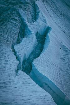 Tiro vertical de glaciares de hielo.