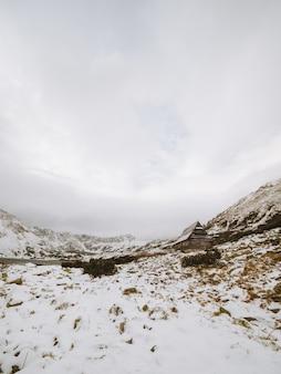 Tiro vertical largo de un paisaje invernal con una pequeña cabaña en las montañas tatra en polonia