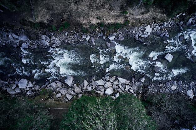 Tiro vertical de un río montañoso rodeado de piedras y árboles.