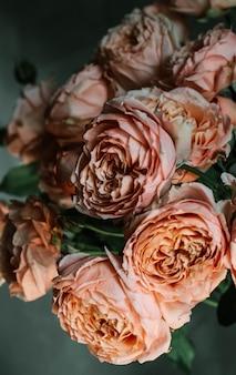 Tiro vertical selectivo hermoso del primer de rosas de jardín rosadas en un florero de cristal