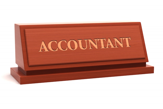 Título de trabajo de contador en la placa de identificación