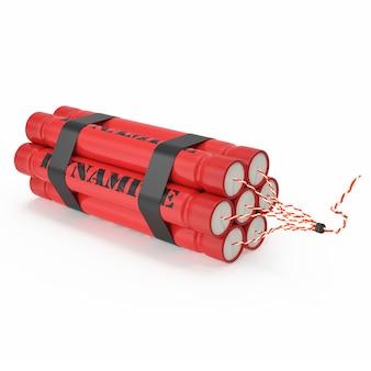 Tnt, bomba de dinamita aislada en blanco