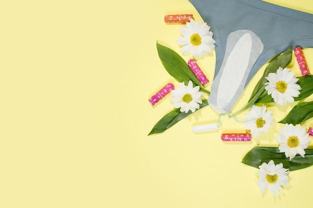 Toallas blancas femeninas diarias y braguita de algodón. higiene íntima