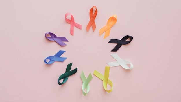 Todas las cintas de colores sobre fondo rosa, día mundial del cáncer