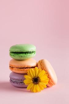 Todavía foto de la vida y de la comida de los macarons de la torta en una caja de regalo con las flores, una taza de té en fondo claro. concepto de dulces y postres de macarrones.