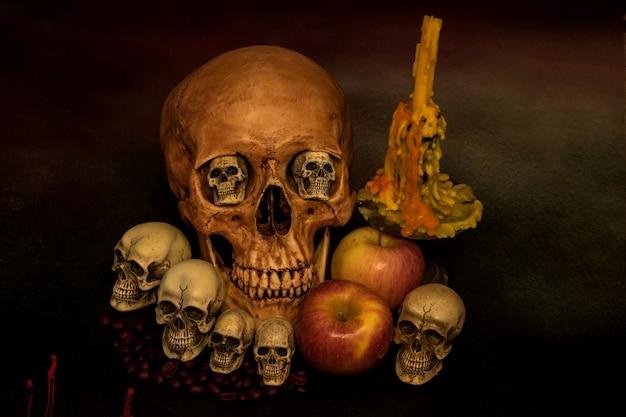 Todavía vida con el cráneo