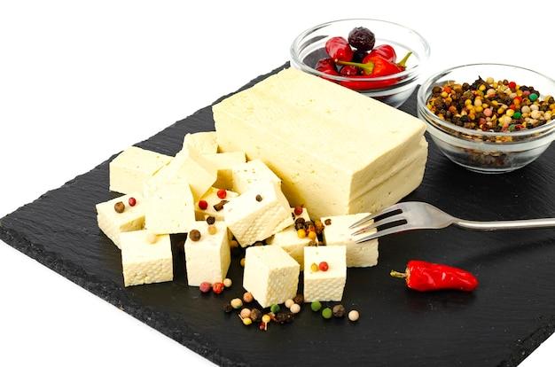 Tofu - producto de proteína de leche de soja.