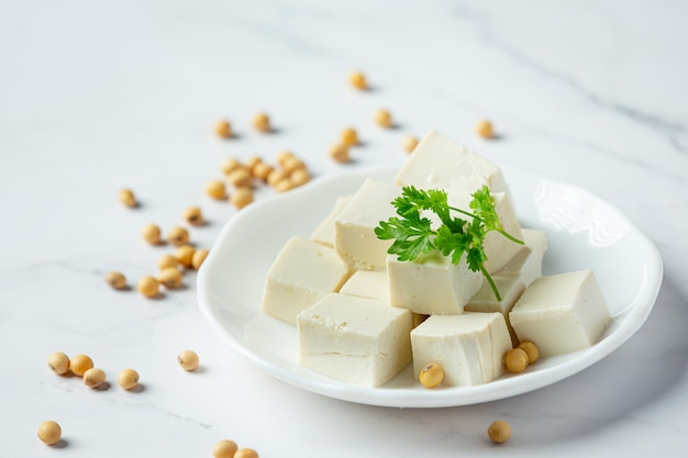 Tofu de soja concepto de nutrición alimentaria.