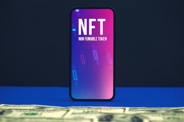 Token no fungible nft, fondo de tecnología de innovación, logotipo en la foto de la pantalla