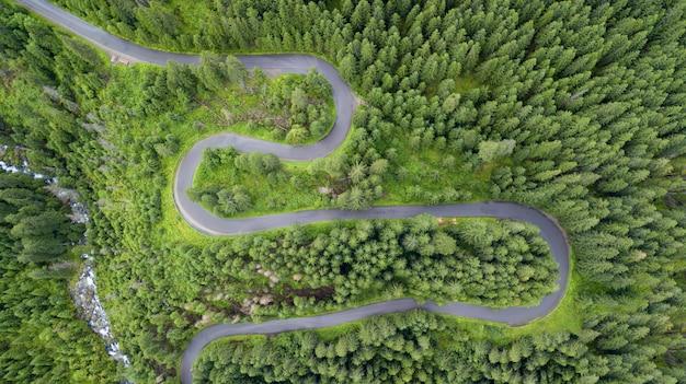 Toma aérea de algunas serpentinas de carretera