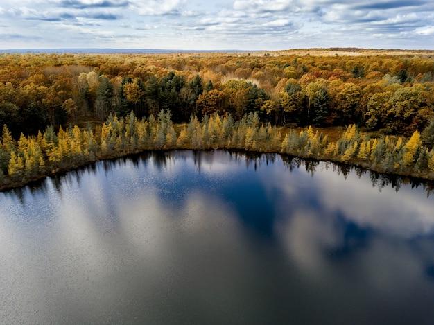 Toma aérea de un estanque rodeado de árboles amarillos y verdes bajo un cielo azul nublado