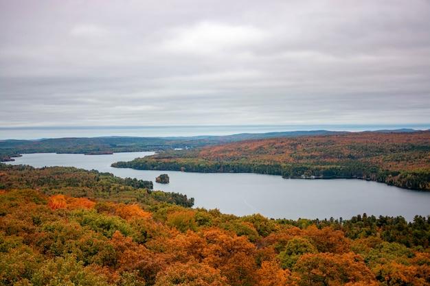 Toma aérea de un hermoso bosque colorido con un lago en medio bajo un cielo gris sombrío