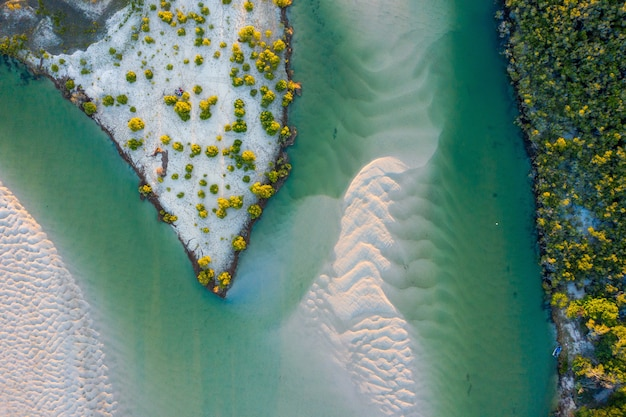 Toma aérea de un hermoso mar y una península con hermosos árboles verdes y arena blanca