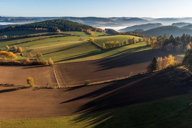 Toma aérea de un hermoso paisaje verde con muchos árboles y colinas cubiertas de hierba