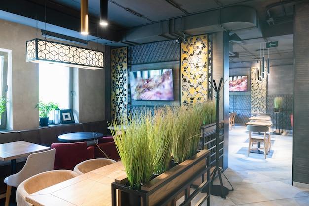 Toma interior del restaurante moderno