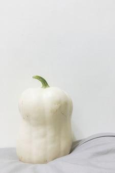 Toma de primer plano de una calabaza blanca