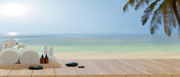 Toma recortada de accesorios de spa en mesa de madera y copie el espacio con fondo de mar, concepto de verano