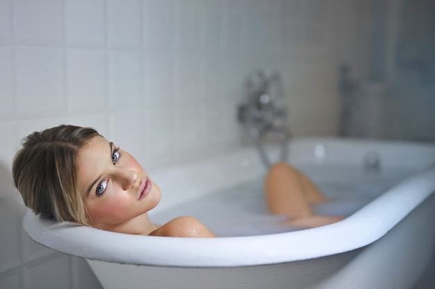 Tomando un buen baño