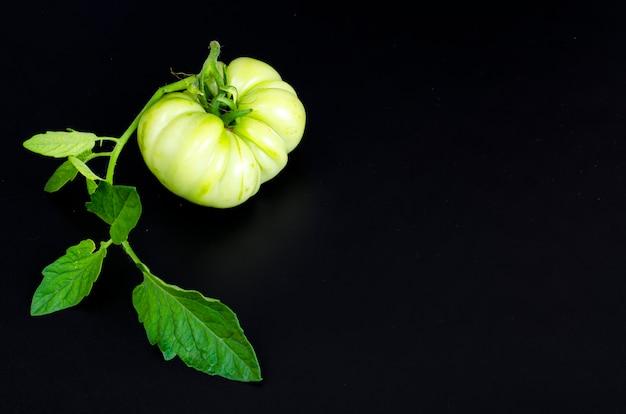 Tomate verde inmaduro sobre fondo negro