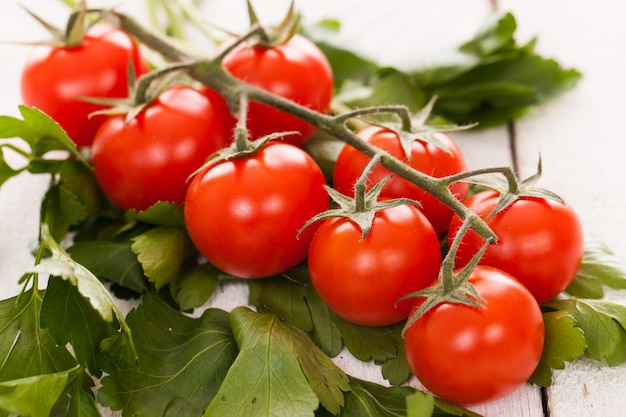 Tomates cherry en una rama con perejil