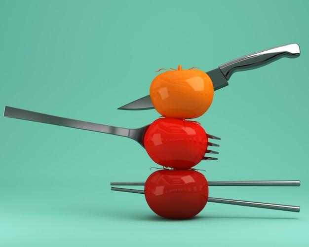 Tomates rojos empalados en utensilios de cocina sobre fondo verde pastel. concepto de comida mínima.
