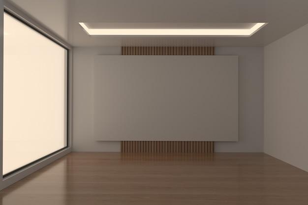 Tono oscuro de la sala de reuniones vacía en renderizado 3d