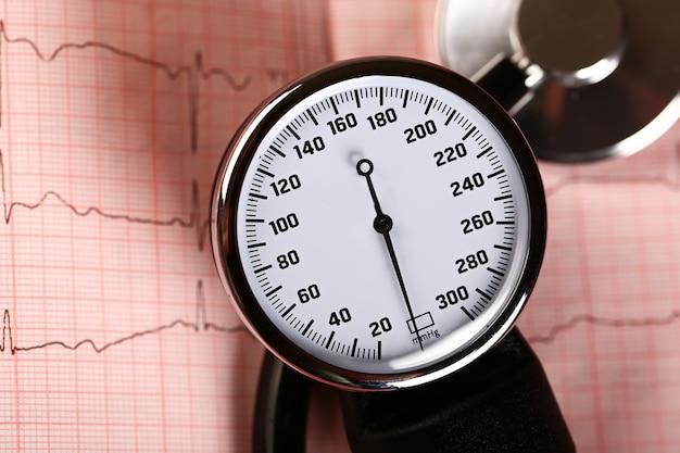 Tonómetro para medir la presión y el ecg sobre un fondo rosa