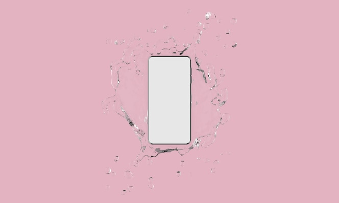 Toque la pantalla del teléfono móvil con salpicaduras de agua sobre fondo rosa