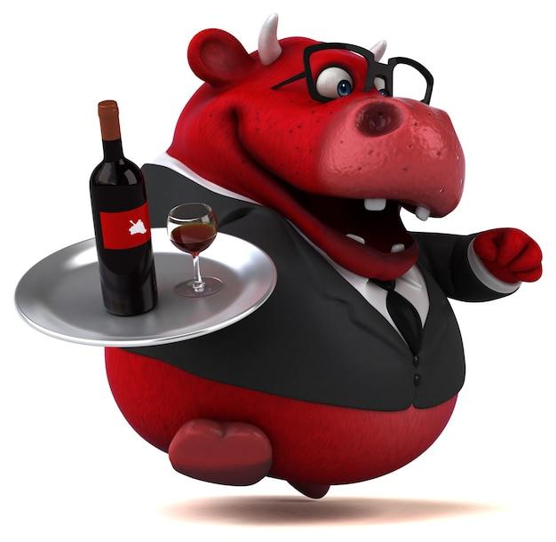 Toro rojo - ilustración 3d