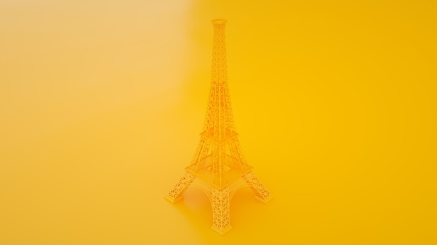 Torre eiffel aislada en amarillo viajes francia. ilustración 3d.
