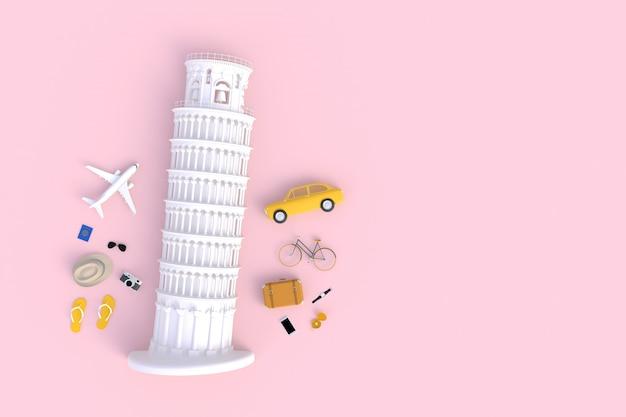 Torre inclinada de pisa, italia, europa, arquitectura italiana, vista superior de los accesorios del viajero rosa mínimo abstracto, artículos de vacaciones esenciales, concepto de viaje, representación 3d