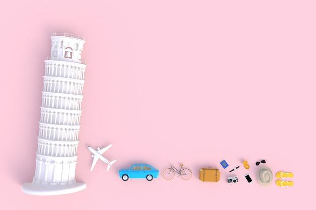 Torre inclinada de pisa, italia, europa, vista superior de los accesorios del viajero, artículos de vacaciones esenciales, concepto de viaje, representación 3d