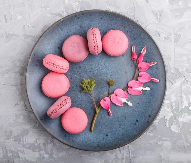 Tortas de macarrón o macarrón púrpura y rosa en placa de cerámica azul sobre fondo de hormigón gris.