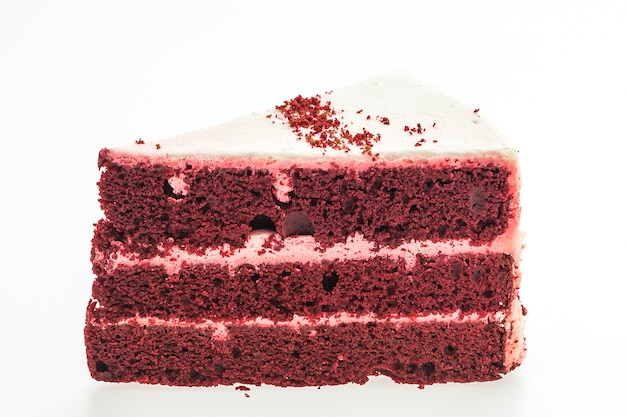 Tortas de terciopelo rojo aisladas