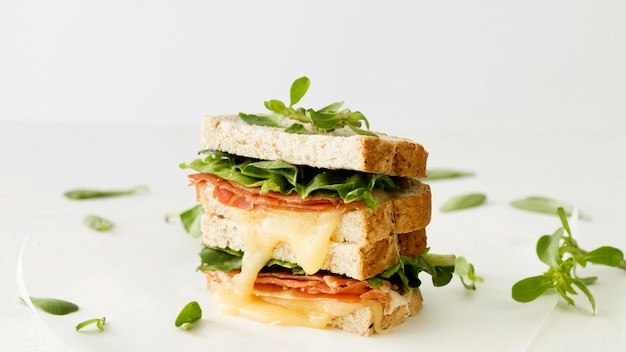 Tostadas frescas con queso y verduras.