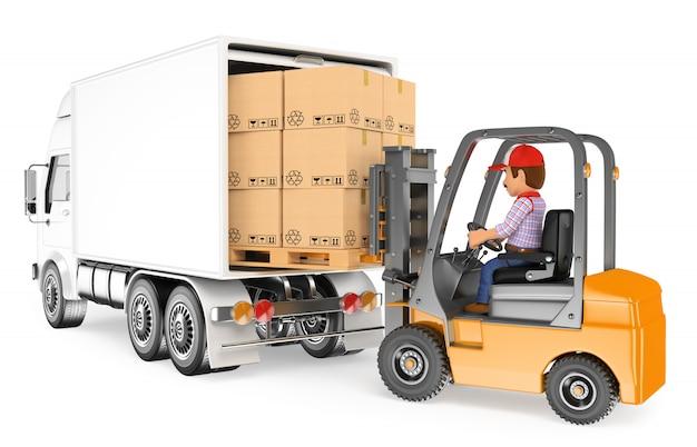 Trabajador 3d conduciendo una carretilla elevadora cargando un camión