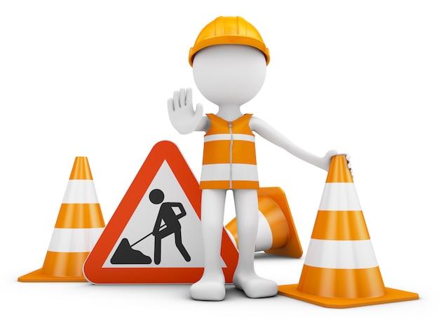 Trabajador de carretera y señal de tráfico con conos. representación 3d