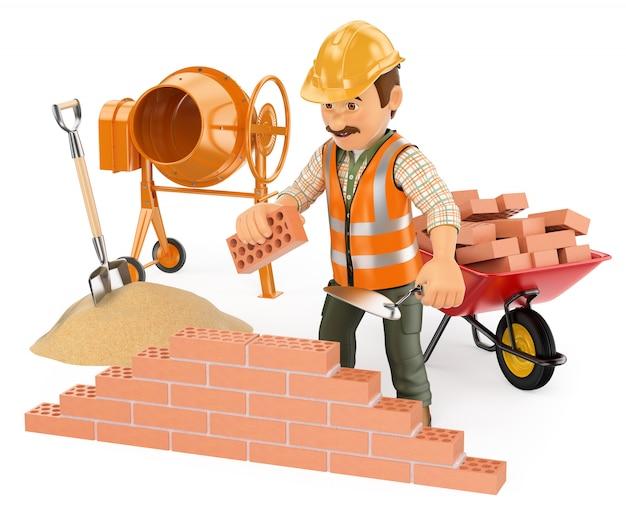 Trabajador de la construcción 3d construyendo una pared de ladrillos