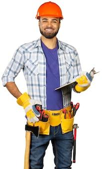 Trabajador de la construcción aislado en blanco