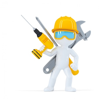 Trabajador de la construcción / constructor con herramientas