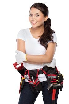 Trabajador de la construcción femenina listo para trabajar