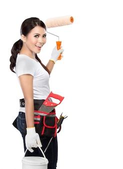 Trabajador de la construcción femenina pintura