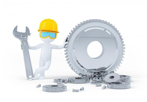 Trabajador de la construcción con llave y engranajes