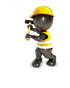 Trabajador de la construcción con un maza