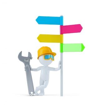 Trabajador de la construcción con signpost colorido.